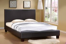 primo  complete platform bed with dark brown faux leather