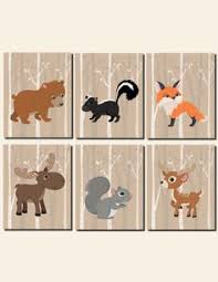 woodland nursery wall art forest friends woodland tree forest animals deer squirrel bear fox canvas or prints set of 5 wood land decor baby kids room  on forest animal nursery wall art with woodland nursery wall art forest friends woodland tree forest