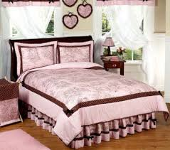 brown and pink toile bedding comforter sets girls bedroom decorating  pictures