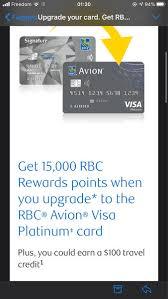 royal bank rbc avion visa infinite 35k