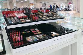 large makeup display placed on a counter unit