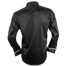 Black Designer Dress Shirt Black With Gray French Cuff Designer Dress Shirt Made In