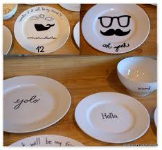 I think this is what my weekend will consist of :) --draw on plates with  sharpie and bake it