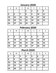 Month Of March Calendar 2020 January February And March 2020 Calendar Printable