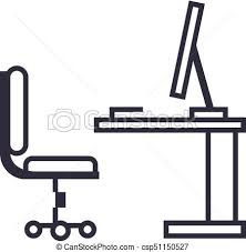 office desk clipart black and white. Brilliant And Tableoffice Desk With Computer Sideview Vector Line Icon Sign  Illustration On Background Office Clipart Black And White
