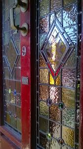 rebuilt stained glass door panel