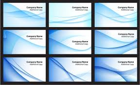 Name Card Templates Abstract Blue Curves Decor Free Vector In