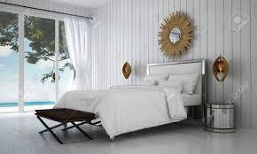 Die Luxusvilla Weiße Schlafzimmer Innenarchitektur Und Holz Wand