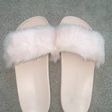 Light Pink Fluffy Sliders Light Pink Fluffy Sliders Only Worn Once Small Depop