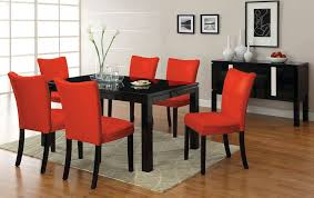 7pc lamia black high gloss lacquer dining table set 6 red chairs