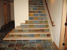 maple stair treads with tile risers staircase