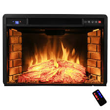 freestanding electric fireplace insert heater with tempered glass and