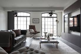 contemporary loft furniture. Luxury Loft Apartment Living Area Aged Leather Sofa Contemporary Furniture Y