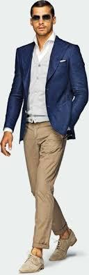 Blue Coat Blue Coat Beige Pants White Shirt Grey Sweater Love Look