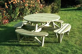 heavy duty round picnic table garden bench