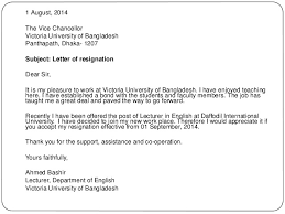 Letter from C L O  Glass  Principal and Vice Chancellor of