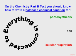 photosynthesis and cellular respiration end show on the chemistry part b test you should know how to write a balanced chemical equation