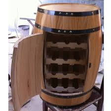 oak wine barrels. 225 Liters Open Door Oak Barrel-shaped Wine Chest Decoration Barrels Cooler