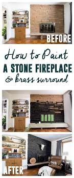 image from wood slice painting beautiful black painted fireplace how to paint stone fireplace 131305