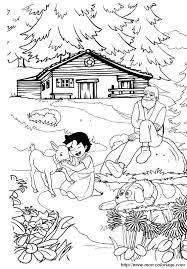 Colorare Heidi Disegno Con Il Nonno E Il Suo Cane
