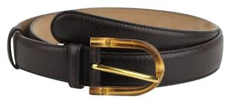 gucci cocoa brown w women s leather w bamboo buckle 90 36 322954 2140 belt