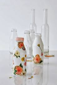 you can paint your wine or any glass bottle in opaque white