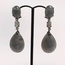 discover this wonderful black gold labradorite and diamonds chandelier earrings black gold 18 carat labradorite