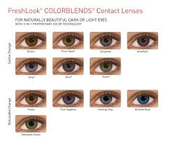 Bausch And Lomb Contact Lenses Color Chart Freshlook Colorblends 2 Coloured Contact Lenses
