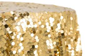 large payette sequin 132 round tablecloth gold