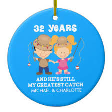 32nd wedding anniversary personalized gift ceramic ornament