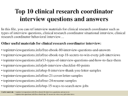 top  clinical research coordinator interview questions and answerstop  clinical research coordinator interview questions and answers in this file
