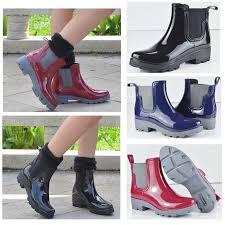 details about women s elastic rain boots rubber waterproof short garden snow ankle boots new