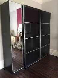 ikea pax triple wardrobe with glass sliding doorirror
