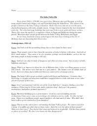 The Indus Valley Dig 6th - 7th Grade Worksheet | Lesson Planet