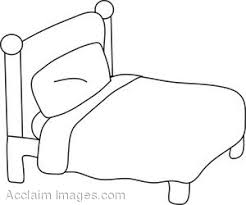 Small Picture Bed Coloring Page Clip Art