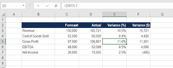 cost forecasting template variance formula example downloadable template guide