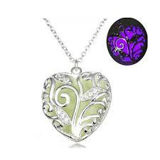 steampunk style hollow heart shape pendant luminous stone