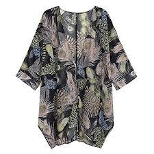 Mikey Store <b>Women Long Floral</b> Kimono Cardigans Short Sleeve ...
