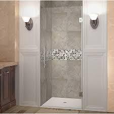 completely frameless hinged shower door in stainless