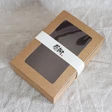 18x12x5cm brown kraft paper box with transpa pvc window gift box cajas de carton packaging cookie macaron box wedding cake silver wrapping