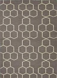 flat weave geometric pattern wool gray ivory area rug hexacomb