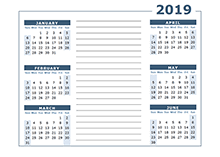 Year At A Glance Calendars 2019 Calendar Template Year At A Glance Free Printable
