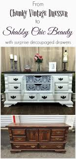 cottage chic furniture. give your vintage dresser a shabby chic makeover by adding decoupage print to the drawers cottage furniture
