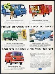1964 Ford Econoline van blue red green 5 vans art vintage print ad ...