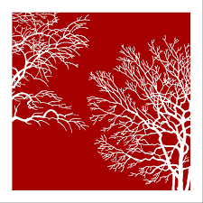 red tree modern wall art oil painting
