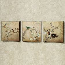 natures kiss birds wall art set beige set of three touch to zoom