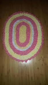 oval rag rug crochet pink and yellow nursery bedroom cotton