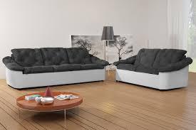 Salon Fixe En Tissu 3 Et 2 Places Gris Blanc Yolinda Canap En Canape 3 2