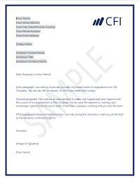 Resignation From The Company Clean Resignation Letter Template Cfi Marketplace