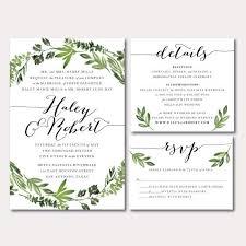 Printable Wedding Invitation Suite Botanical Wreath Watercolor
